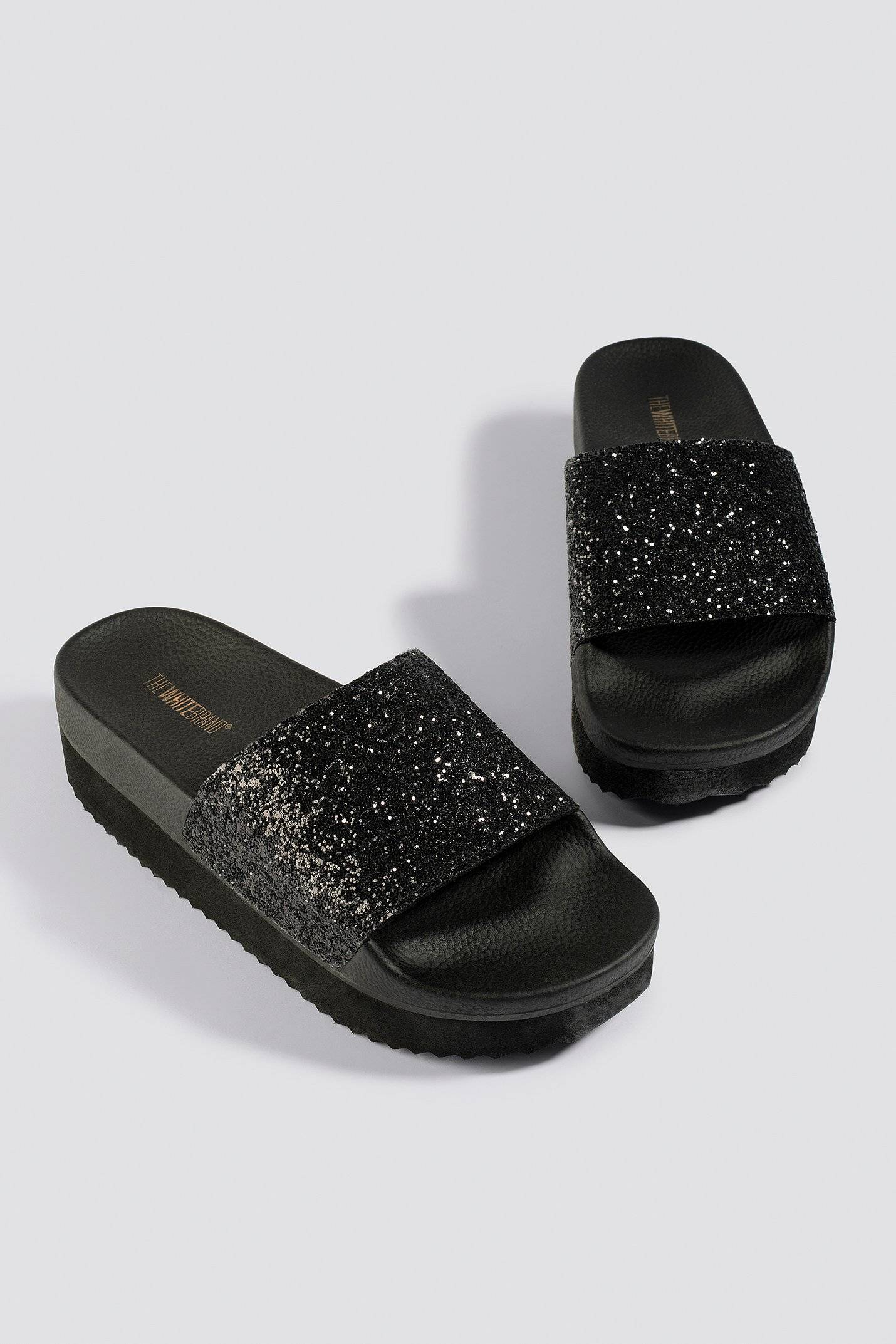 The White Brand High Glitter Slippers - Black