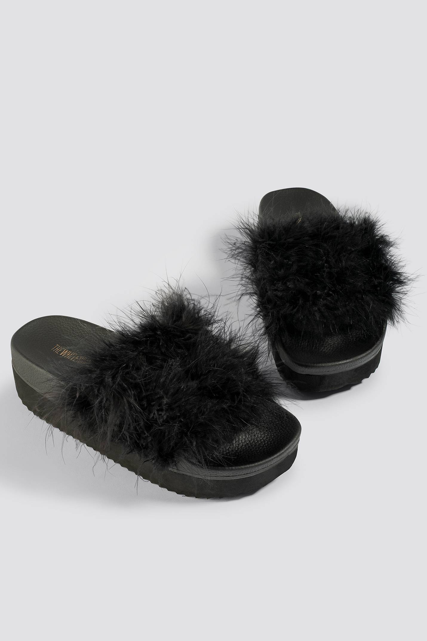 The White Brand High Feathers Slippers - Black