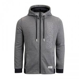 Björn Borg Bay Hoodie Jacket, deep black melange, large
