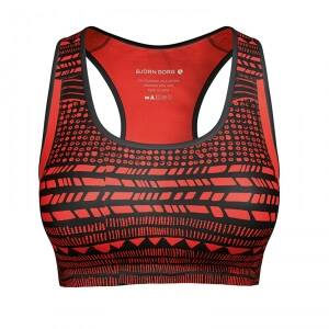 Björn Borg Active Sport Top, tribal structure cherry tomato, xsmall