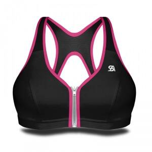 Shock Absorber Zipped Bra, black/pink, Shock Absorber