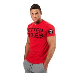 Better Bodies Basic Logo Tee, bright red, large