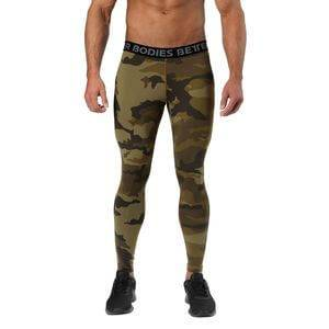 Better Bodies Hudson Logo Tights, dark green camo, large
