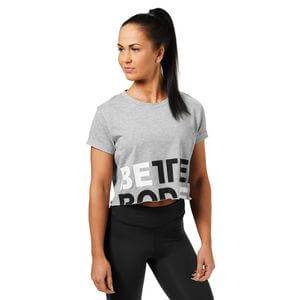 Better Bodies Astoria Cropped Tee, grey melange, small