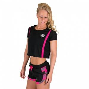 Gorilla Wear Women Columbia Crop Top, black/pink, small