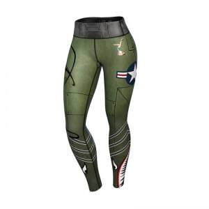 Anarchy Apparel Women Bomber Compression Leggings, green/gray, xlarge
