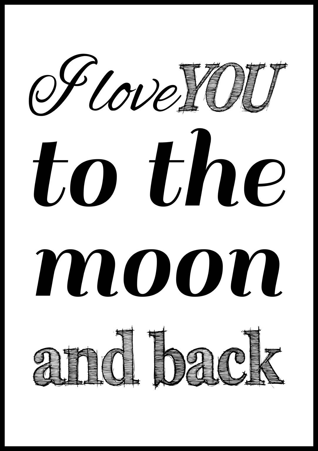 Bildverkstad I love you to the moon and back- Svart - 70x100 cm