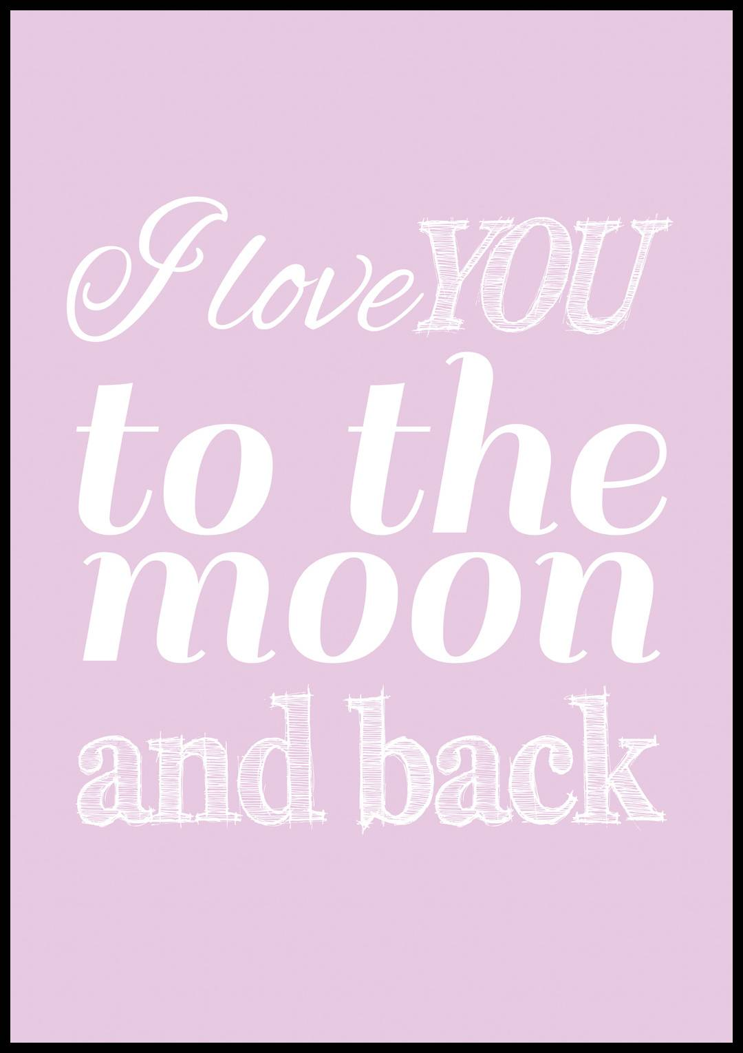 Bildverkstad Love you to the moon - Lavender - 70x100 cm