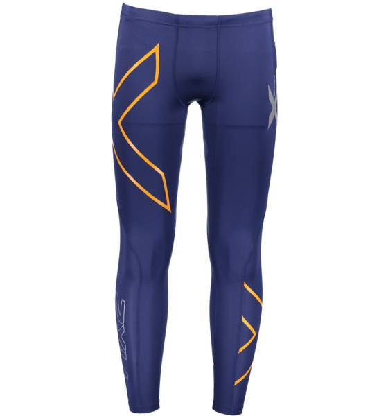 2xu So Comp Tights M Treeni NAVY/TORCH ORANGE (Sizes: XS)