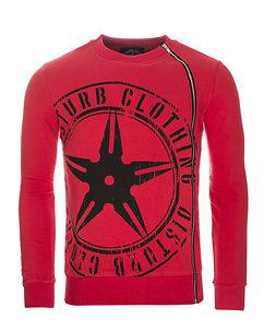 Disturb Clothing Throwing Star Zip Sweater Red
