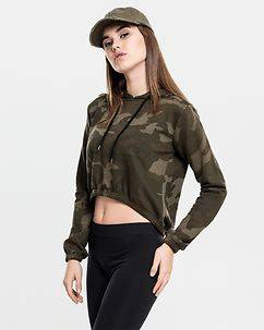 Urban Classics Cropped Hoodie Green Camo