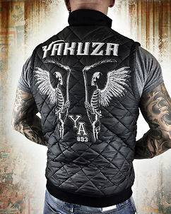 Yakuza Ink Skeleton Quilted Vest Black