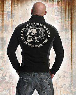 Yakuza Ink Punx Two Face Zip Sweater Black