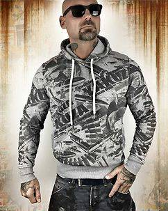 Yakuza Ink Gunner Allover Hoodie Grey