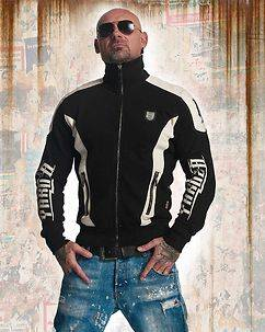 Yakuza Ink Skull Track Zip Sweater Black