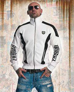 Yakuza Ink Skull Track Zip Sweater White