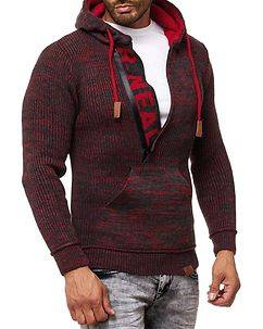 Rusty Neal Dexter Knit Hoodie Anthracite/Red