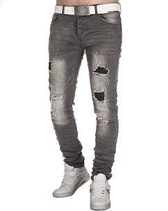 MZ72 Brand Wrap Jeans Ripped Grey
