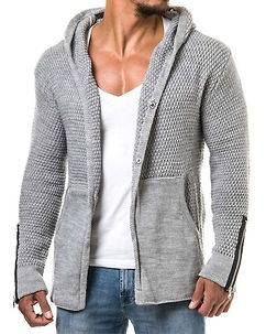 Carisma Heath Knit Hoodie Light Grey