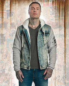 Yakuza Ink Stalked By Devils Denim Teddy Jacket Blue