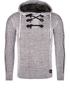 Rusty Neal Clement Knit Hoodie White Melange