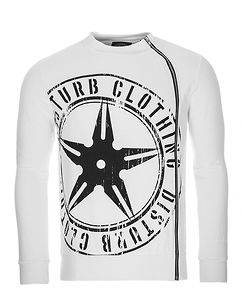 Disturb Clothing Throwing Star Zip Sweater White