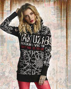 Yakuza Ink Allover Chains Long Zip Hoodie Black