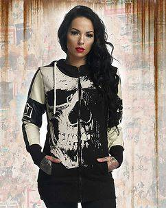 Yakuza Ink Skull Mix Long Hoodie Black
