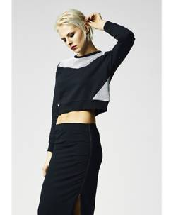 Urban Classics Cropped Mesh Terry Crew Black
