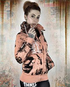 Yakuza Ink Skull Dawn Zip Hoodie Orange