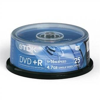 TDK DVD+R 16x Cakebox 25-pack