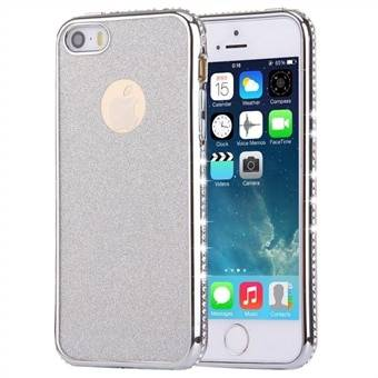 Apple For iPhone SE & 5s & 5 Diamond Encrusted Electroplating Frame Flash Powder TPU Protective Case (Silver)