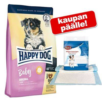 Happy Dog Supreme Young Happy Dog Supreme 4 kg + Trixie Nappy -suoja-alustat koiranpennuille - Young Baby Lamm & Reis
