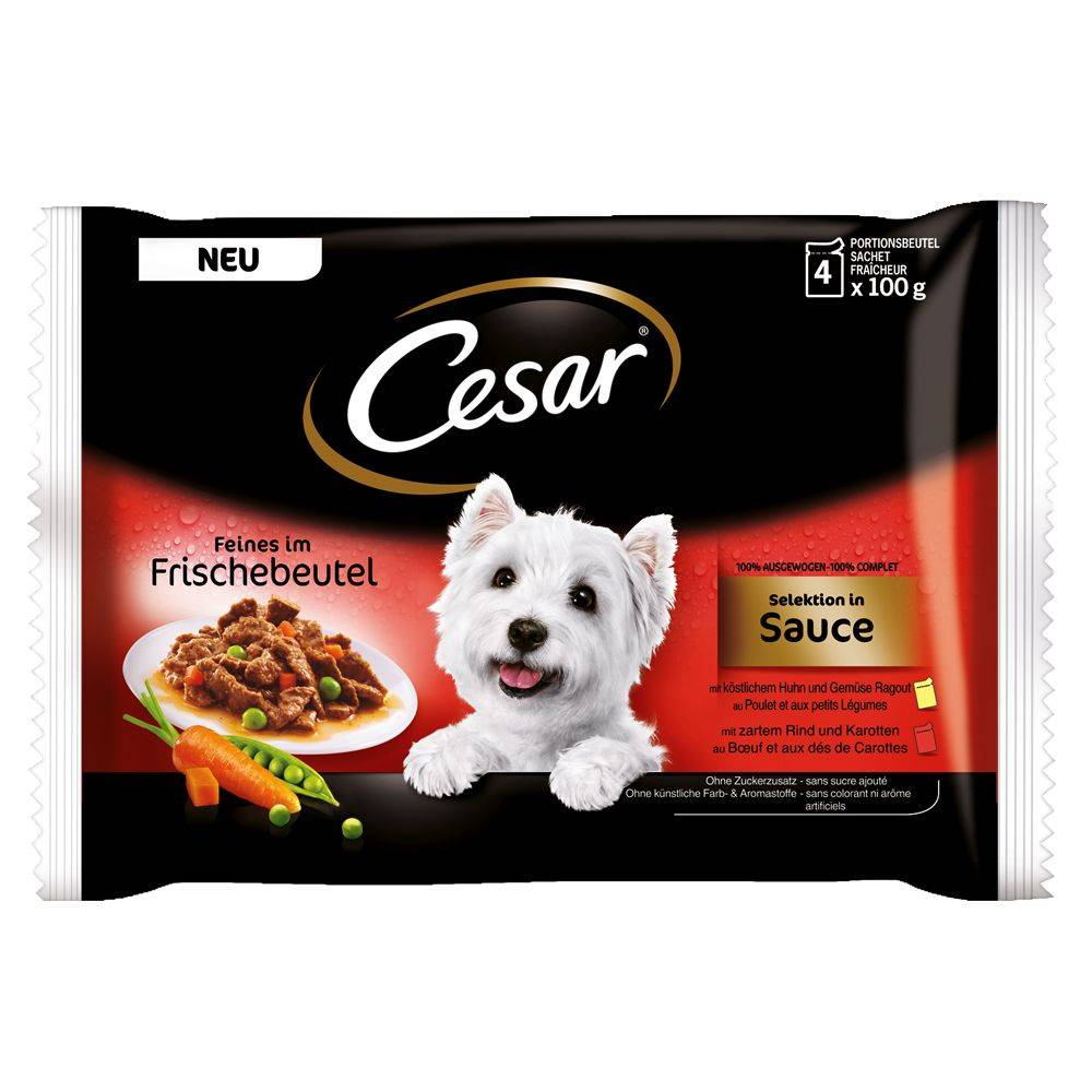 Cesar Pouch Selection in Sauce, monta makua - 8 x 100 g