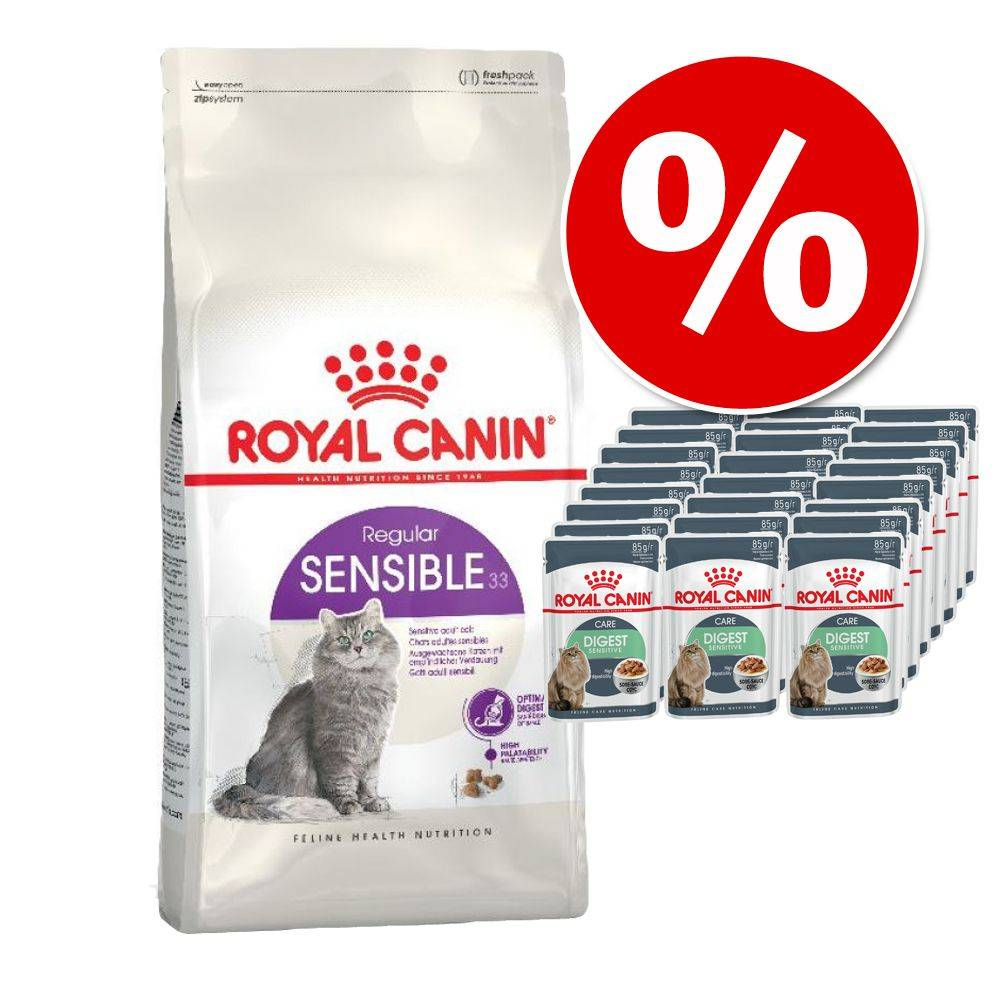 Royal Canin Breed Sekoituspaketti: 4 kg Royal Canin -kuivaruokaa + 24 x 85 g Royal Canin in Gravy - Maine Coon Kitten + Kitten Instinctive