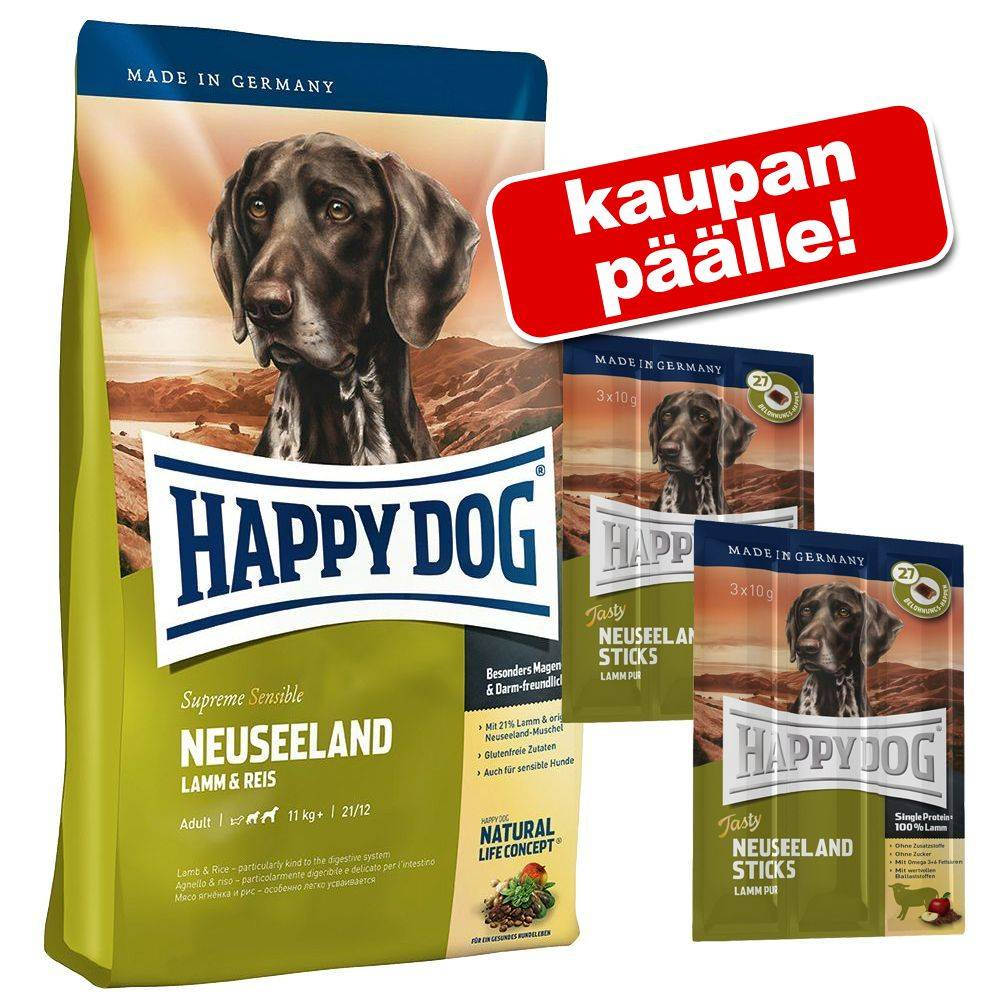 Happy Dog Supreme Young Happy Dog Supreme koiranruoka + 2 x 60 g Tasty Sticks kaupan päälle - Mini Baby & Junior (2 x 4 kg) + Tasty Sticks Uusi-Seelanti