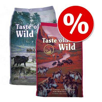 Taste of the Wild 2 x 6 kg! 12 kg Taste of the Wild -koiranruokia tutustumishintaan! - Pacific Stream & Sierra Mountain