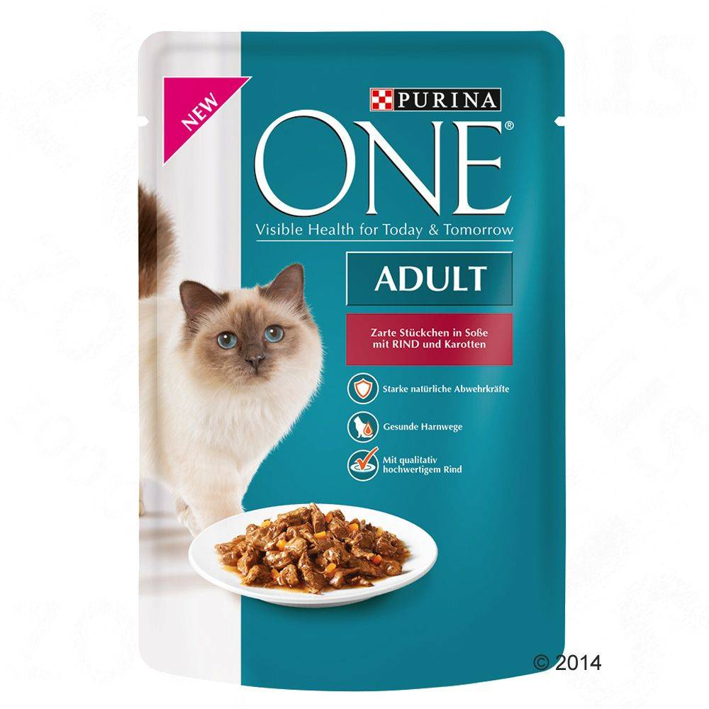 Purina One Adult 6 x 85 g - nauta & porkkana