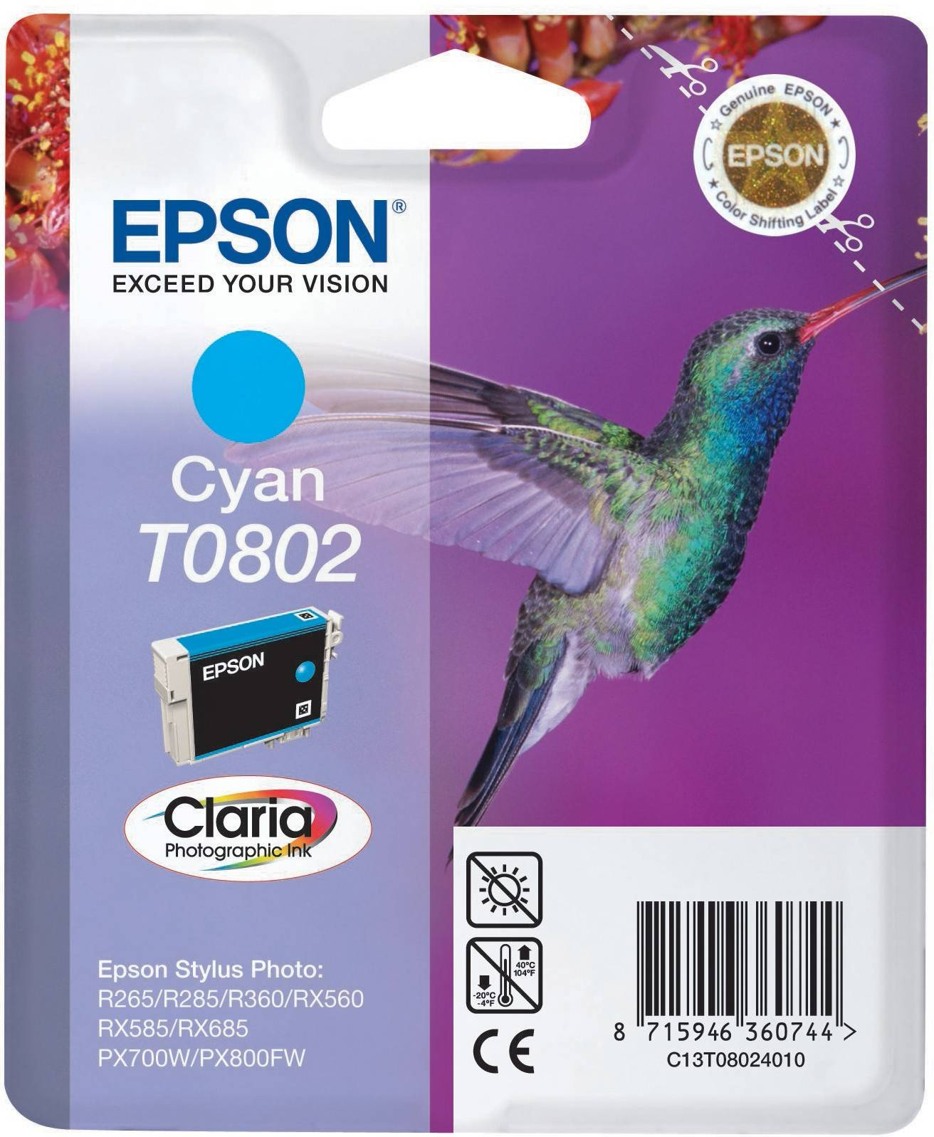 Epson Claria Ink -muste T0802 (syaani)