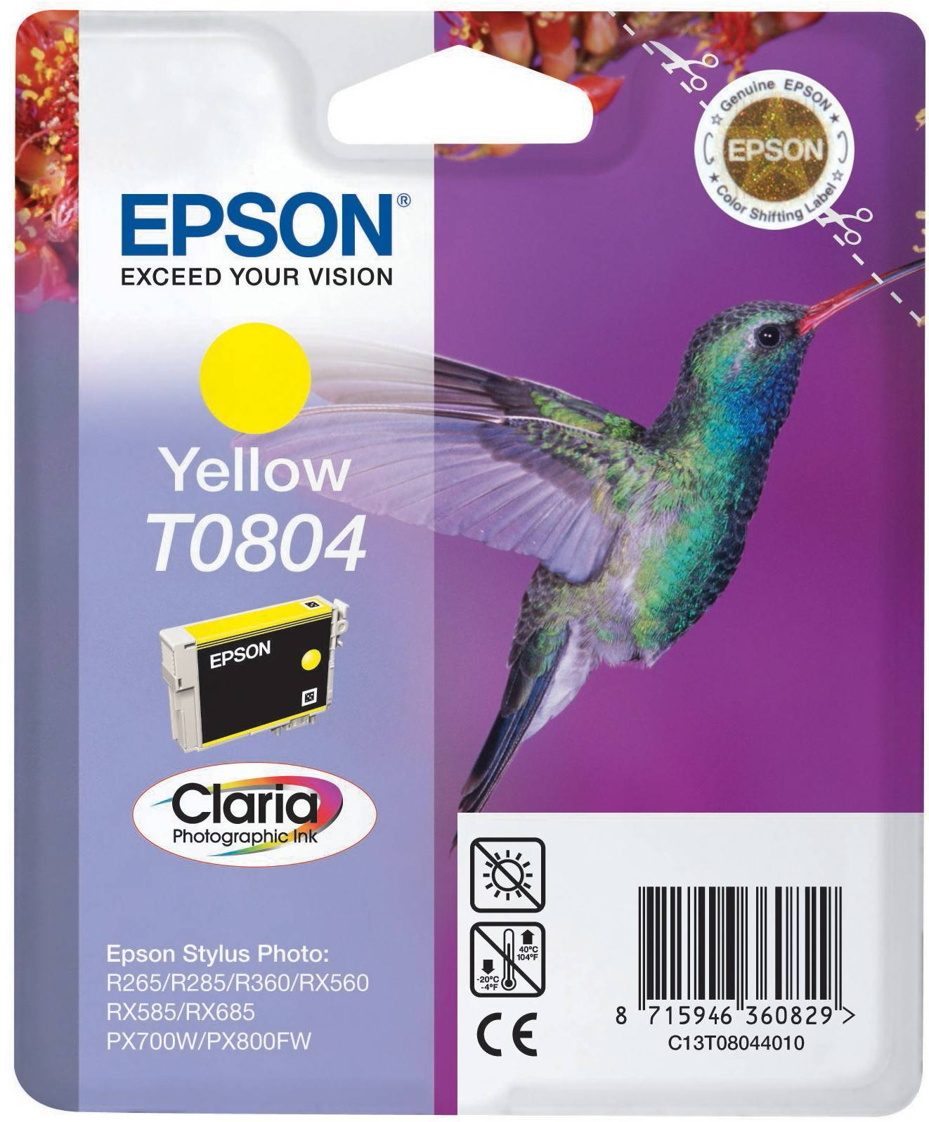Epson Claria Ink T0804 -muste T0804 (keltainen)