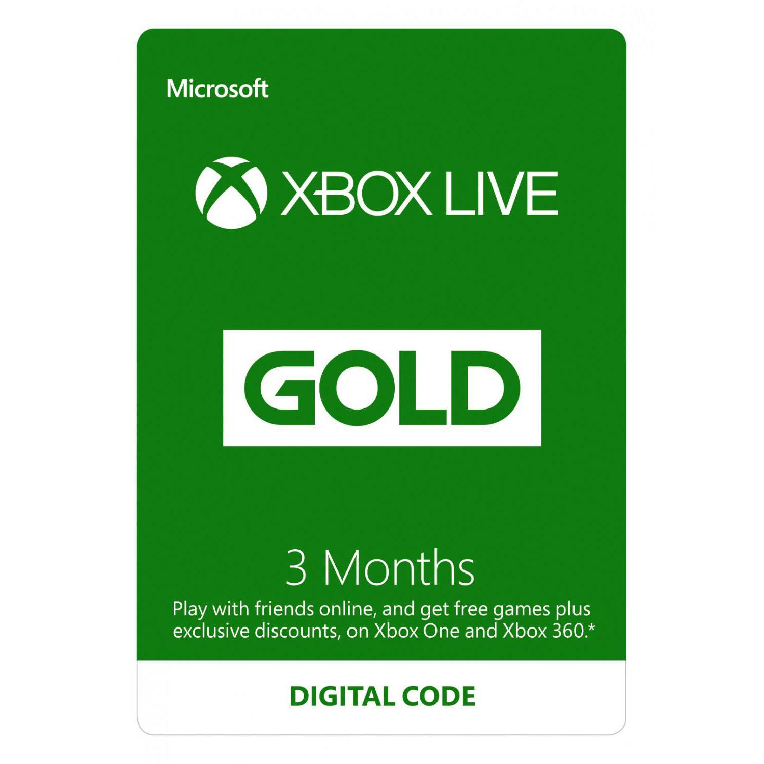 Microsoft Xbox Live Gold 3 kk jäsenyys (Download)