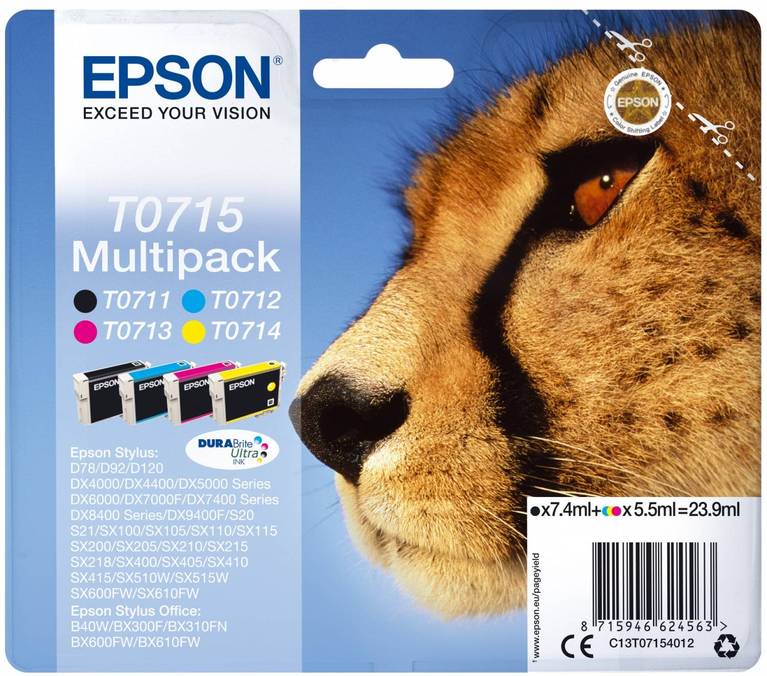 Epson T0715 Black, Cyan, Magenta, Yellow