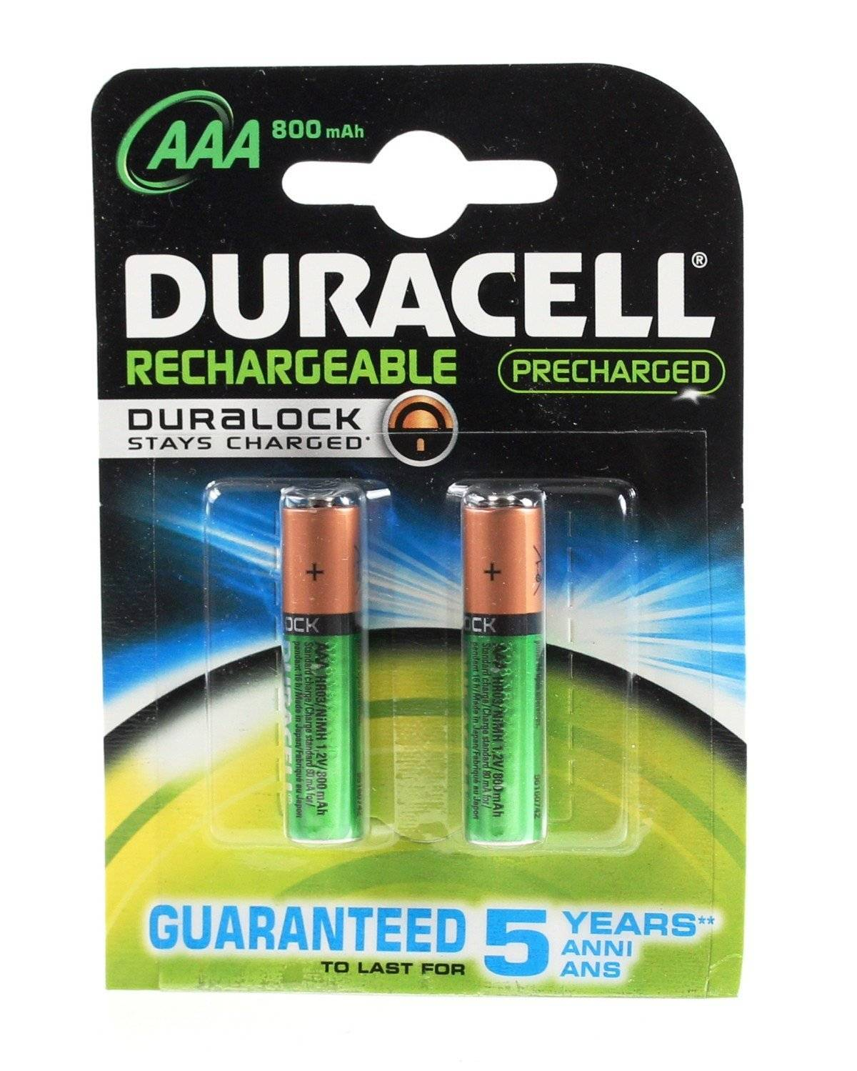 Duracell Rechargeable 800mah Hr03 Aaa (Lr03), 2-Pack