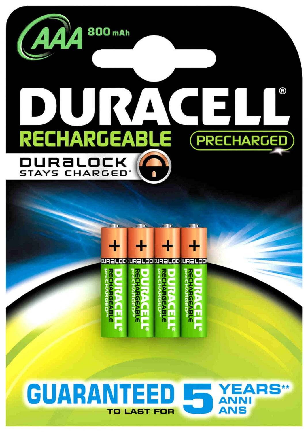 Duracell Rechargeable 800mah Hr03 Aaa (Lr03), 4-Pack
