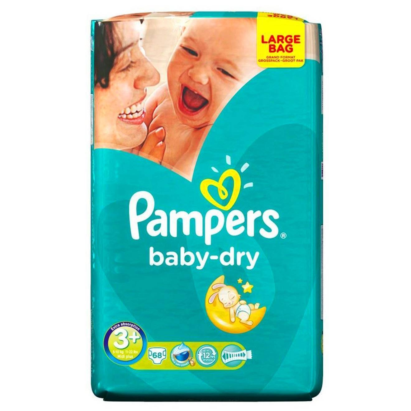 Pampers Pack de 68 couches Baby Dry T3+ / 5-10 Kg