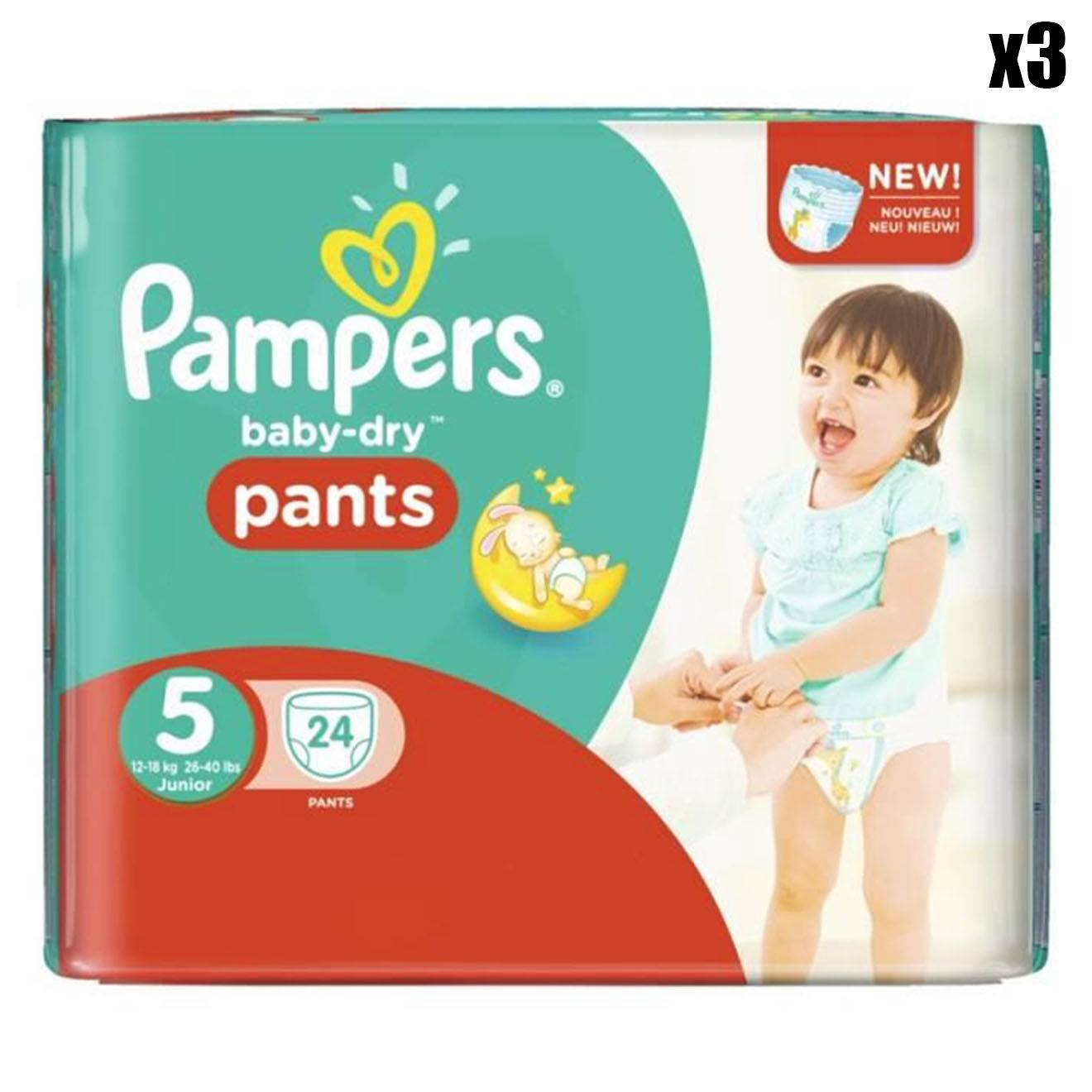 Pampers 3 Packs de 24 couches - 72 couches Baby Dry Pants T5 / 11-23 kg