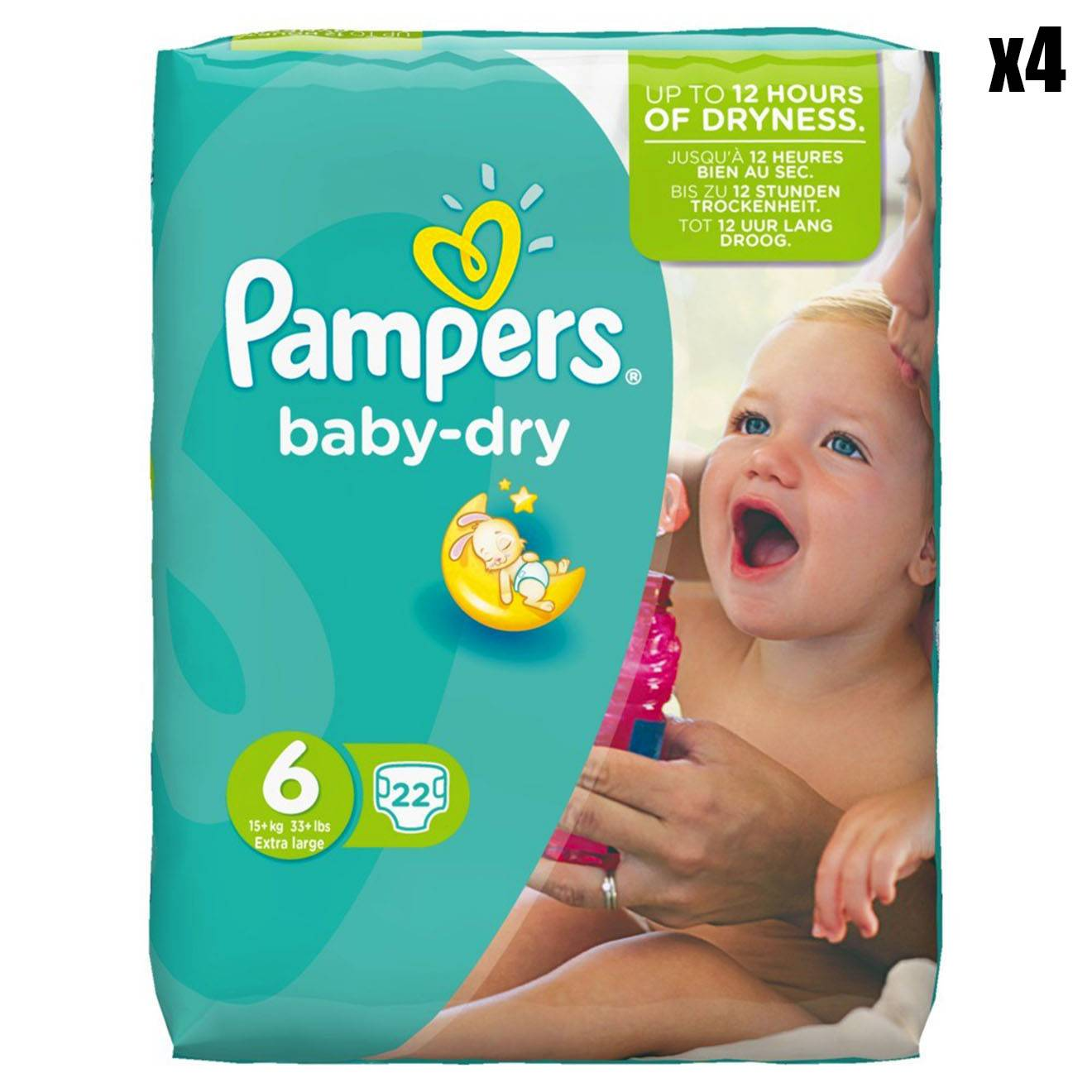 Pampers 4 Packs de 22 couches - 88 couches Baby Dry T6 / 15+ kg
