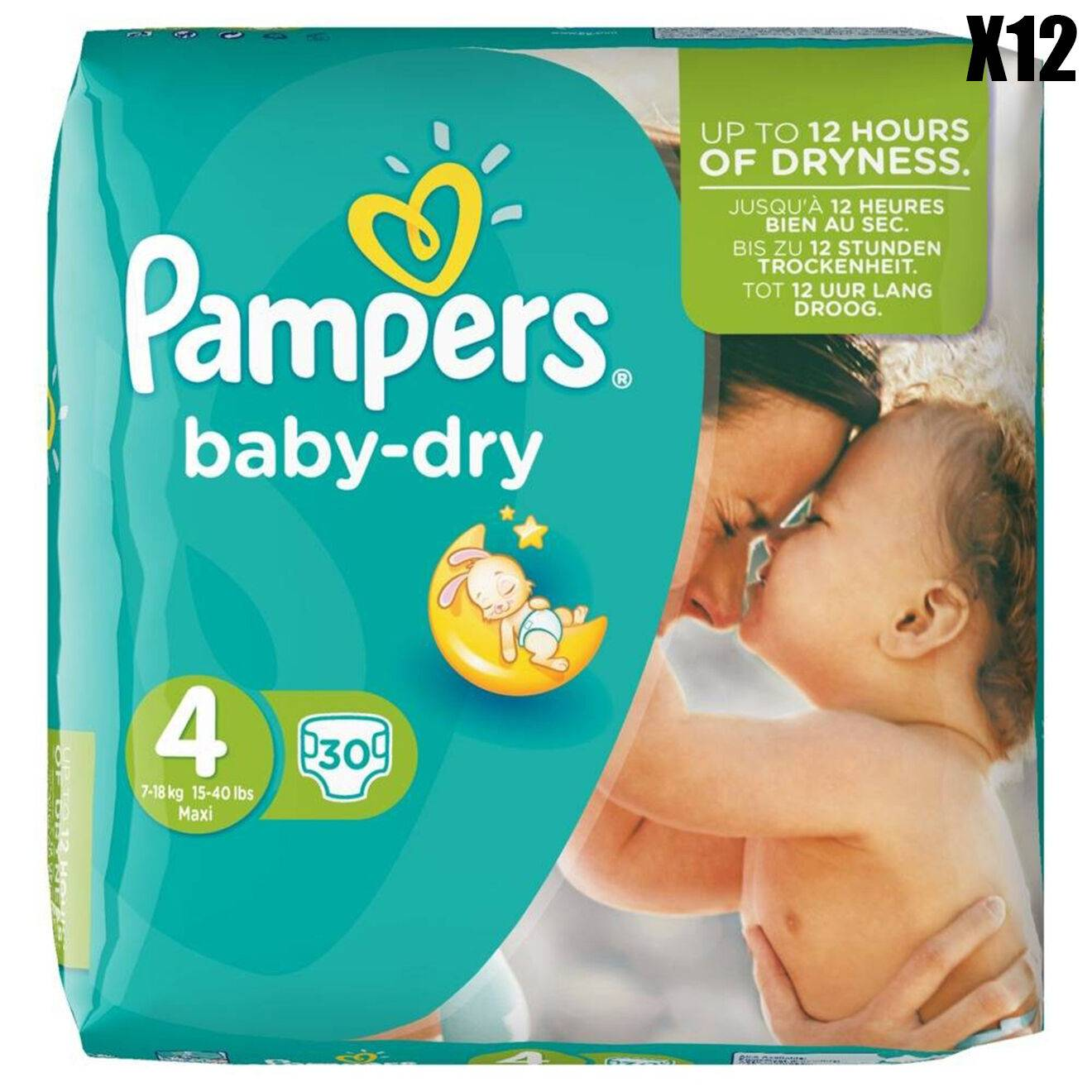 Pampers 12 Packs de 30 couches - 360 couches Baby Dry T4 / 8-16 kg