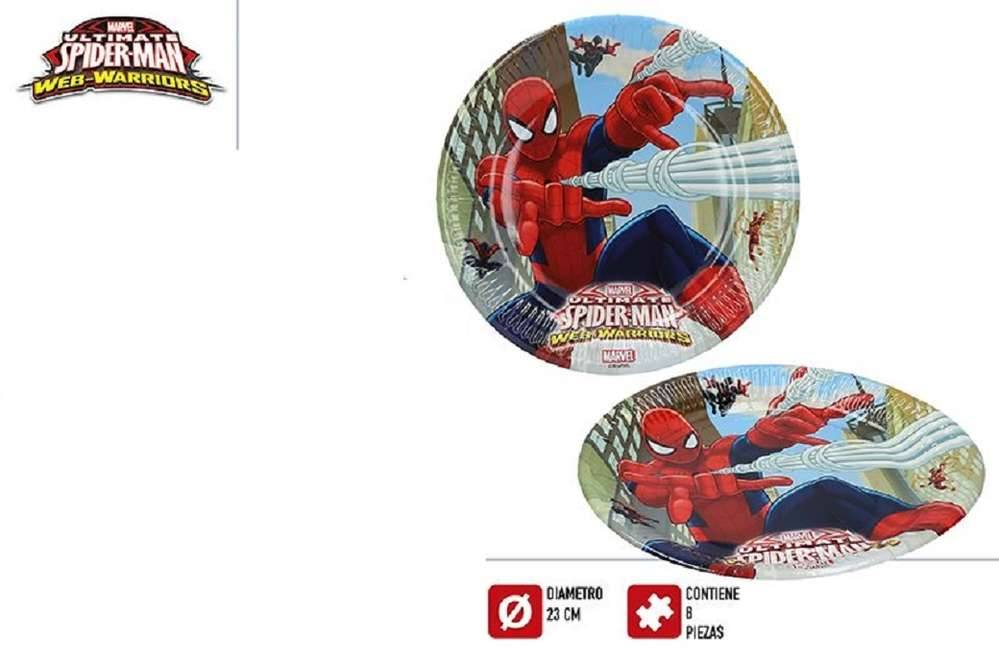 Colorbaby Pack 8 plaques 23cm Spiderman