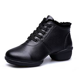 LightInTheBox Chaussures de danse (Noir/Rouge) - Non personnalisable - Talon bas - Cuir - Sneakers de dance